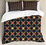 Duvet Cover Set Abstract Geometric Trippy Forms in Funky Tones Digital Puzzle Game Style Urban Illustration Ultra Soft Durable Twill Plush 4 Pcs Bedding Sets for Childrens/Kids/Teens/Adults Twin Size