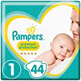 Pampers Premium Protection, Size 1 Newborn (2kg-5kg), 44 Nappies, For Unbeatable Skin Protection