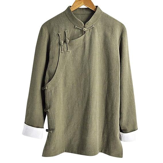 Interact China Elegante Hecho a Mano para Hombre de Lino Informal de algodón mandarín Chaqueta de Chaqueta #105: Amazon.es: Ropa y accesorios