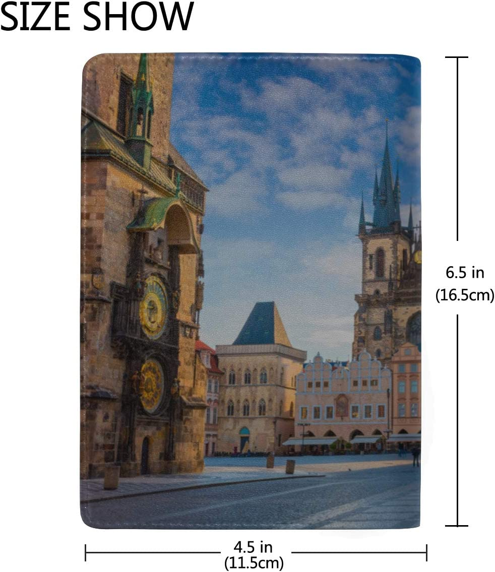 Clock Tower In The Old Town Blocking Print Passport Holder Cover Case Travel Luggage Passport Wallet Card Holder Made With Leather For Men Women Kids Family