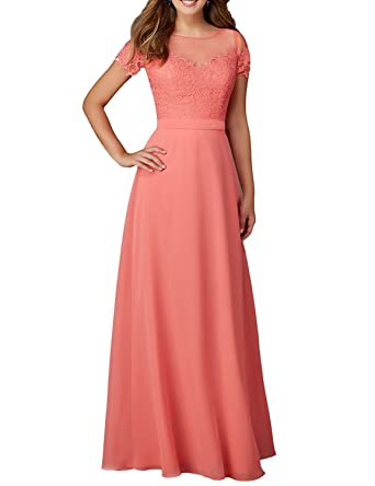 Verabeauty Long Chiffon Prom Dresses Lace Applique Evening Gown ?5 Days to Arrive Peach Size