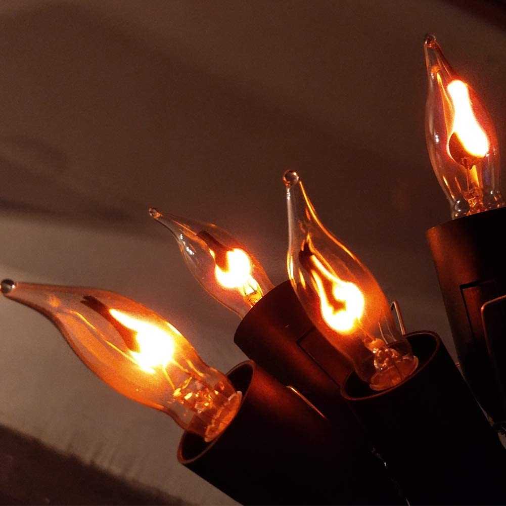 Flame Flicker Light Bulbs,Flame Light Incandescent Bulbs,Flickering Flame Shaped E12 Base 3 Watt Bulbs for String Light