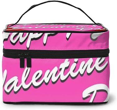 Maquillaje Bolsa Feliz Día de San Valentín Tarjeta Vintage con Estuche de Maquillaje de Letras Gran Bolsa de cosméticos para Viaje: Amazon.es: Equipaje