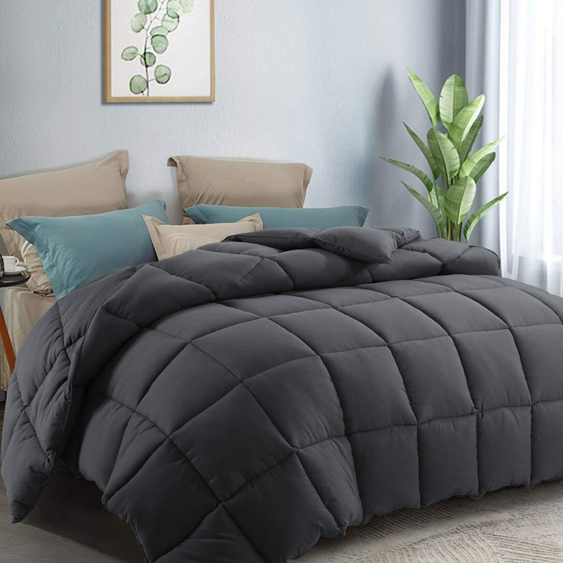 COTTONHOUSE Twin Size Cooling Comforter Fluffy Reversible Quilted Duvet Insert Down Alternative Fill with Corner Tabs All Season - Machine Washable - Darkgrey