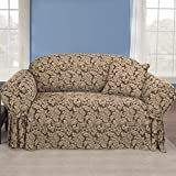 scroll classic loveseat skirted slipcover color brown by surefit