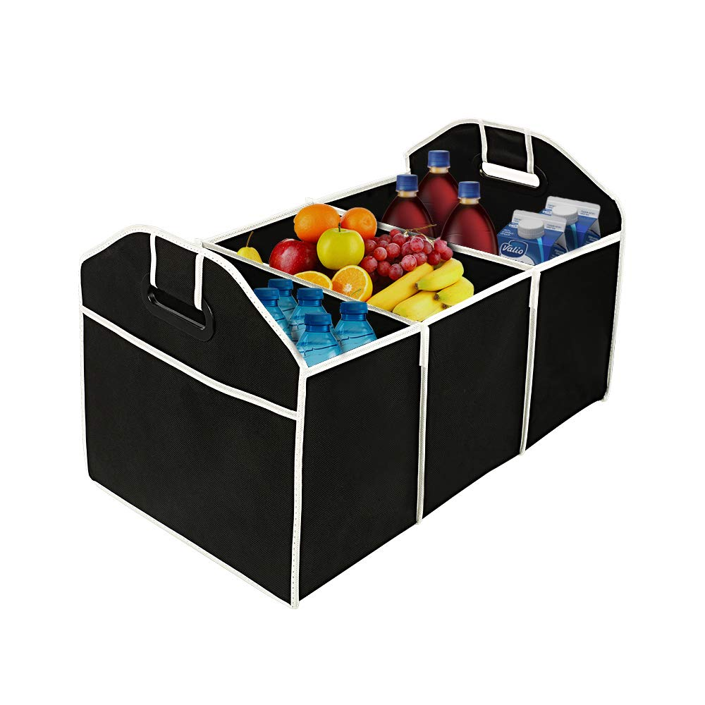 Black Orford Trunk Storage Organizer,Collapsible Car Trunk Organizer Portable Multi Compartment Adjustable Storage Basket//Box,Durable Waterproof,20.5 x 12.4 x 12.6 inches Black