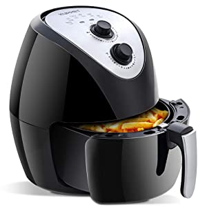 Air Fryer KUPPET 5.8Qt Multi Function Electric Hot Air Fryer with 6 Cooking Presets, Automatic Switch-Off Oven Oilless Cooker Extra Large Capacity Nonstick Fry Basket 1700W, Black