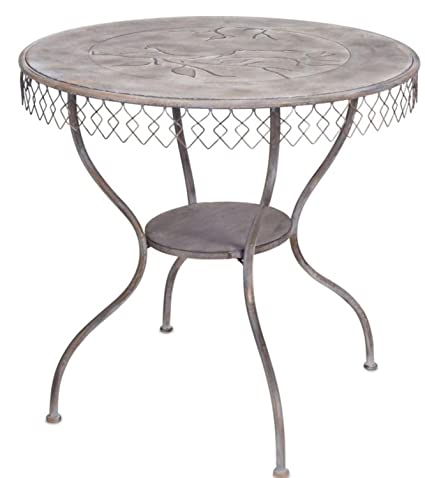 Melrose Decorative Gray Round Outdoor Or Indoor 30u201dH Table With Bird Design