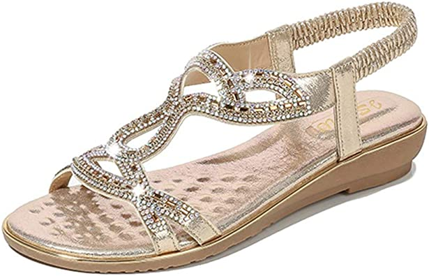 Ladies Girls Fipflops Rhinestones Thong Flat Sandals Ankle Strap Slingback Shoes