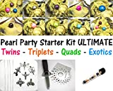 Akoya Oysters Pearl Party Starter Kit Ultimate - 20 Akoya Oysters w/ 1x Quadruplet + 2x Triplets + 3x Twins + 8 Pearl Cage Pendant Necklaces + Oyster Shuck + Pearl Gauge + Work at Home Business