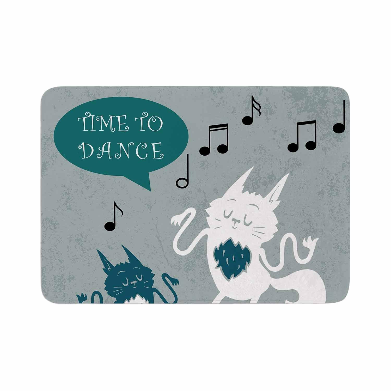 KESS InHouse AV1018ABM01 Anya Volk ''Time To Dance'' Green White Memory Foam Bath Mat 24 X 36