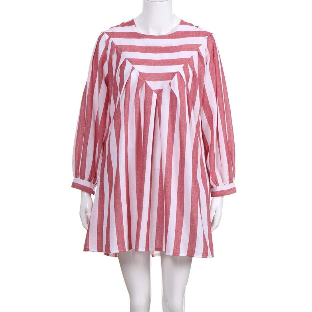 aliveGOT Women's Striped Print Cotton Linen Dress Party Short Beach Mini Dress (Pink, L)