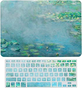 MacBook Air 13 Inch Case(A1369 & A1466, Older Version 2010-2017 Release), Plastic Hard Protective Laptop Case Shell with Keyboard Cover, Water Lilies Monet