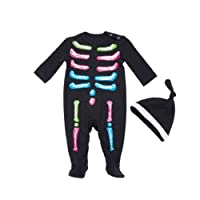 Bangle009 Clearance Sale Multicolor Skeleton Baby Girls Long Sleeve Romper Jumpsuit Hat Halloween Outfit