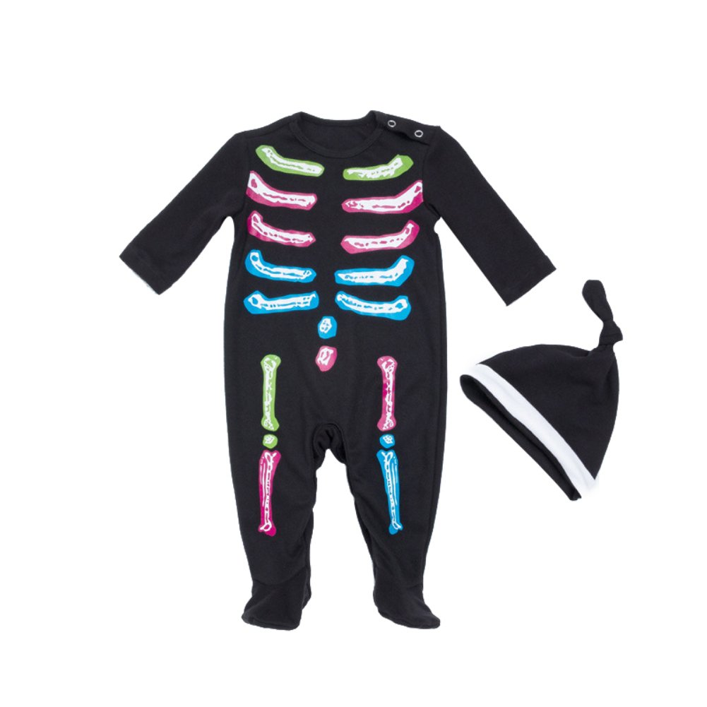856store Clearance Sale Multicolor Skeleton Baby Girls Long Sleeve Romper Jumpsuit Hat Halloween Outfit