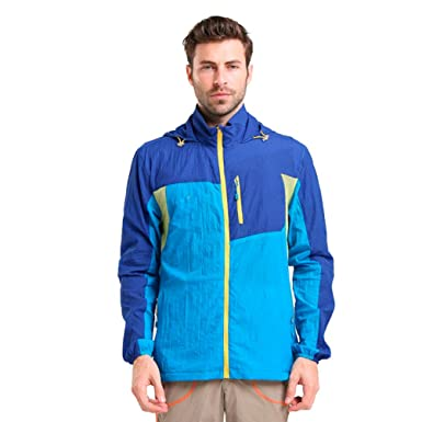 e79f6cd44a67 Yuanu Men Summer Outdoor Sport Mixed Colors Sunscreen Jacket Waterproof  Pest-Proof Breathable Quick-Drying Long Sleeve Hooded Skin Windbreaker  ...