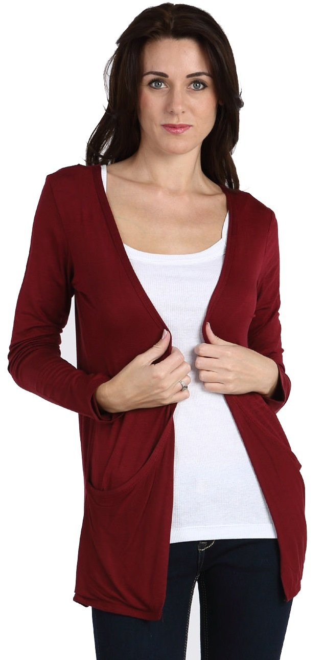 Crazy Girls Red Olives Ladies Long Sleeve Plain Printed Pocket Boyfriend Cardigan Womens Top Sizes 8-26