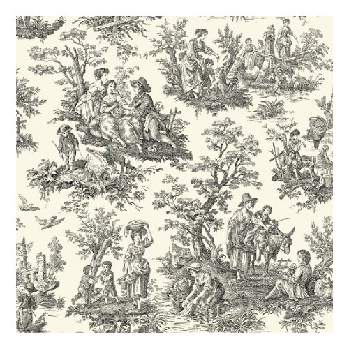 York Wallcoverings Waverly Classics Country Life Removable Wallpaper, Cream/Black ()