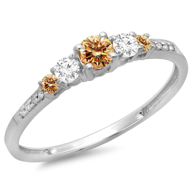 0.40 Carat (ctw) 14K Gold Round Cut Champagne & White Diamond Ladies Bridal 5 Stone Engagement Ring