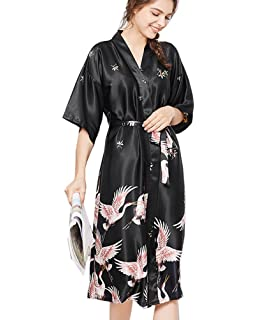 1fea9f836411 Womens Printed Pattern Satin Pajamas Set Long Sleepwear Soft Loungewear  with Belt
