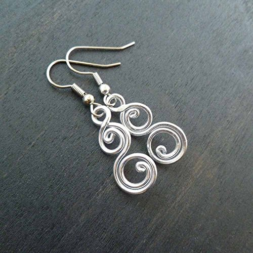 Small Aluminum Earrings with stainless steel ear wires (Wrapped Silver Pillar)