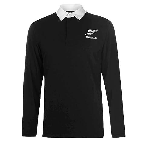 New Zealand Camiseta de Rugby de Manga Larga para Adultos Zelanda (100% algodón,
