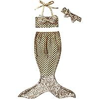 Traje de Baño Niña Cola de Sirena + Traje de Baño Bikini Traje de Baño Sirena Conjunto de Tres Piezas