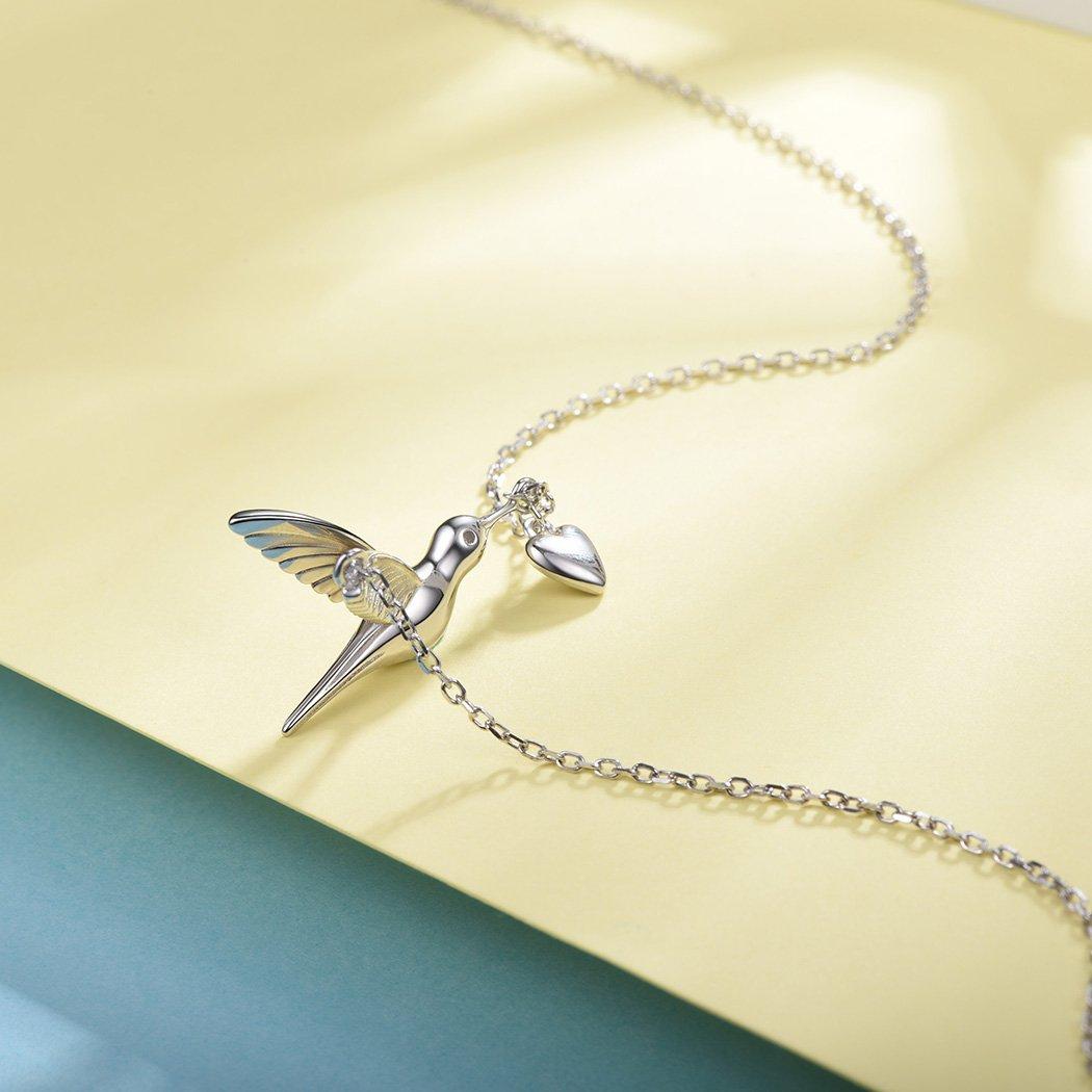 SILVERCUTE Novelty Heart Hummingbird Women Necklace 925 Sterling Silver Fine Jewelry Bird Pendant & Chain by SILVERCUTE (Image #8)