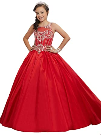 Amazon.com: GreenBloom Beaded Embellished Pageant Gowns for Little ...