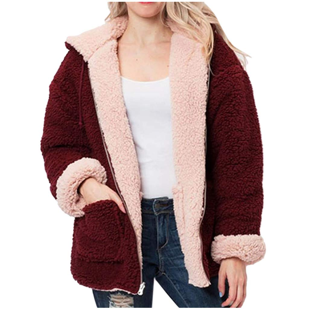 Women's Faux Fur Hooded Fuzzy Coats Outerwear Fashion Reversible Coats Winter Warm Plush Zipper Overcoat Jacket Pockets (Wine, Large) by Aritone - women clothes