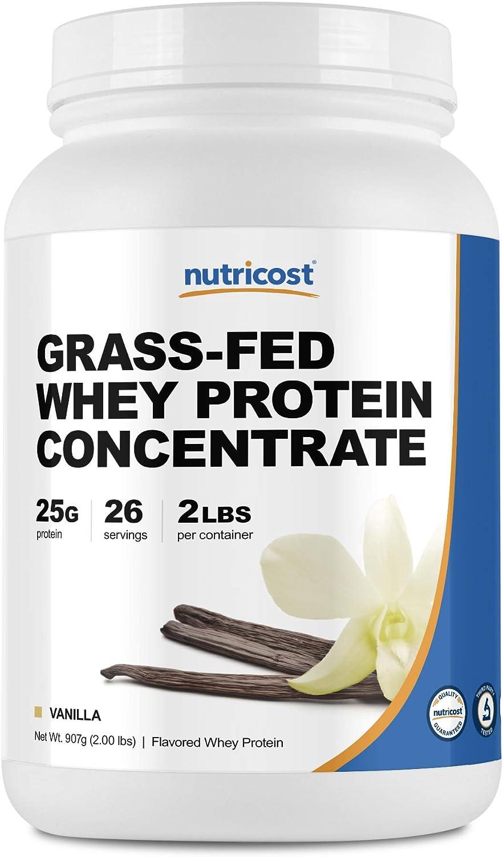 Nutricost Grass-Fed Whey Protein Concentrate (Vanilla) 2LBS - Undenatured, Non-GMO, Gluten Free, Natural Flavors