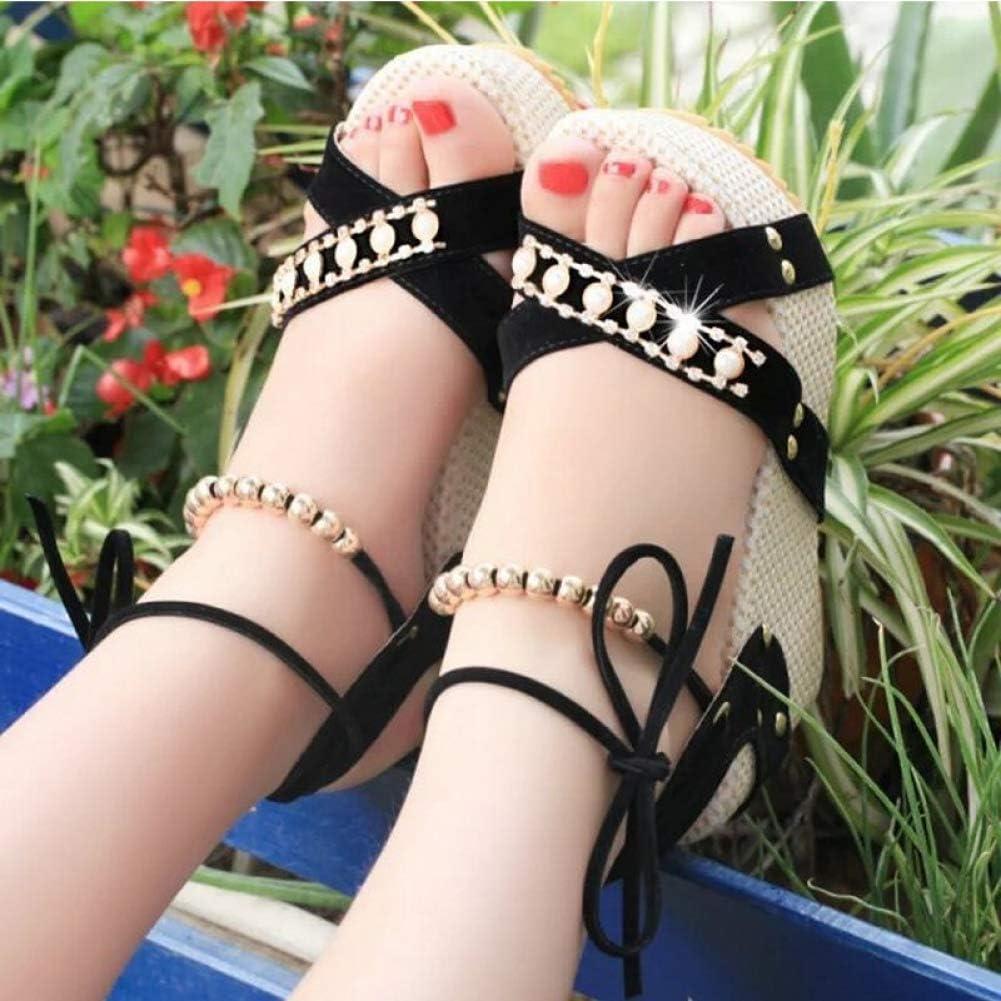 Womens Platform Wedge Sandals Peep Toe Cross Strap High Heels Beaded Lace Up Wedding Dress Sandal