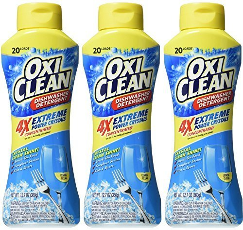 Oxi Clean Dishwasher Detergent - Extreme Power Crystals - 4X Concentrated - Lemon Clean - Net Wt. 12.7 OZ (360 g) Each - Pack of 3 by Church & Dwight Co., Inc.