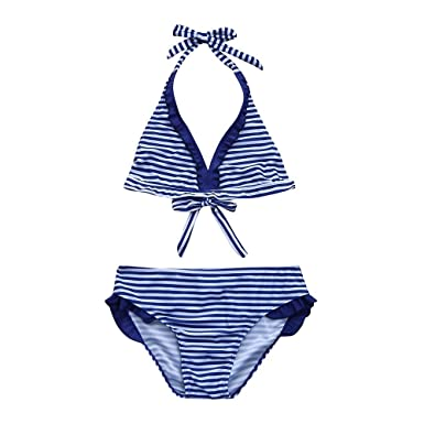 Yalasga Kids Girls Summer Ruched Stripe Printing Bathing Suit Halter Bikini Set (Blue, 5T