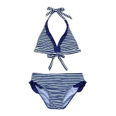 Yalasga Kids Girls Summer Ruched Stripe Printing Bathing Suit Halter Bikini Set (Blue, 5T