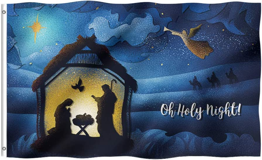Tititex Winter Christmas Custom Garden Flag 3x5 Ft, Oh Holy Night Scene Double Stitched with Brass Grommets for Outdoor Indoor Home Decor