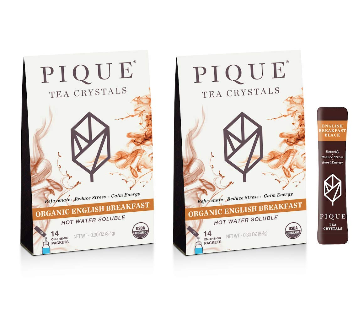Pique Tea Organic English Breakfast Black Tea Crystals - Gut Health, Fasting, Calm - 28 Single Serve Sticks (Pack of 2)