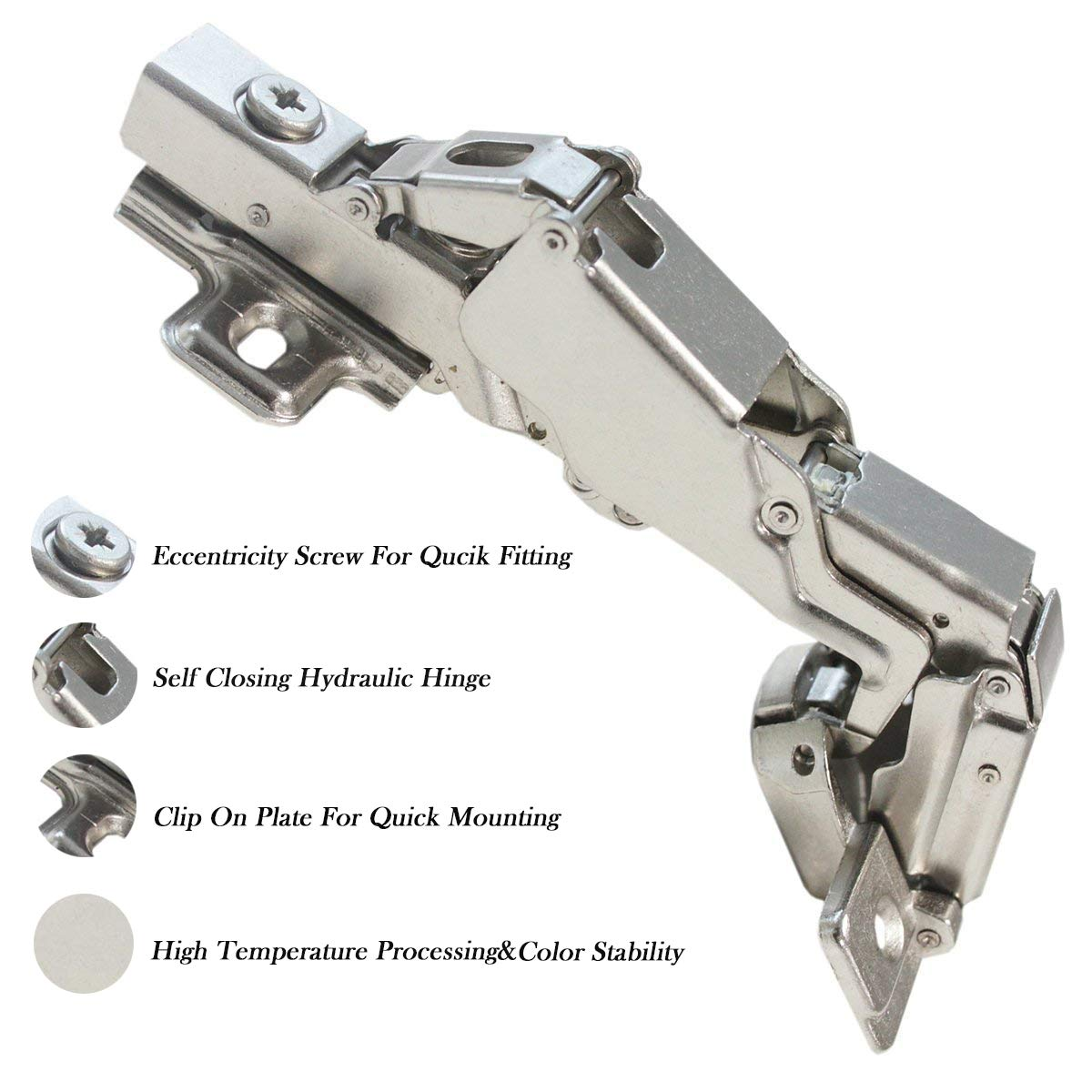 Full Overlay Frameless Cabinet Door Hinges, 165 Degree Soft Closing Nickel Plating Durable European Style Concealed Hinges 10 Pair by Knobonly (Image #4)