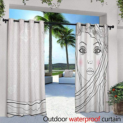 LOVEEO Teen Room Grommet Outdoor Curtains Baby Face Young Girl with Floral Wreath on Hair and Butterfly Design Waterproof Patio Door Panel 72