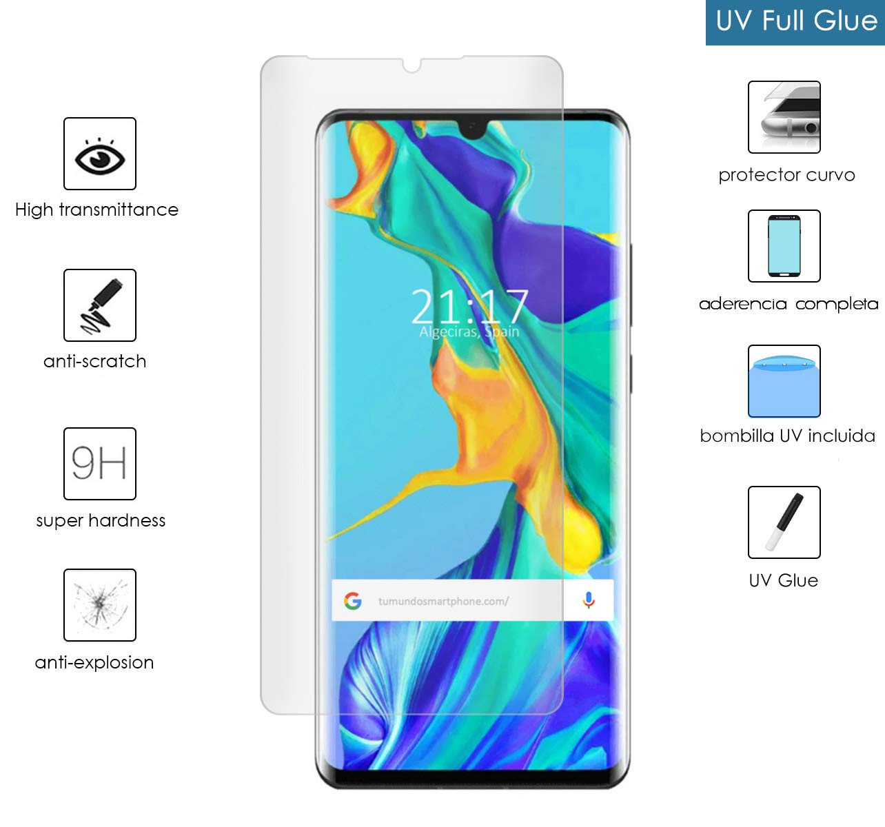 Protector Cristal Templado Completo Curvo UV Full Glue para Huawei P30 Pro