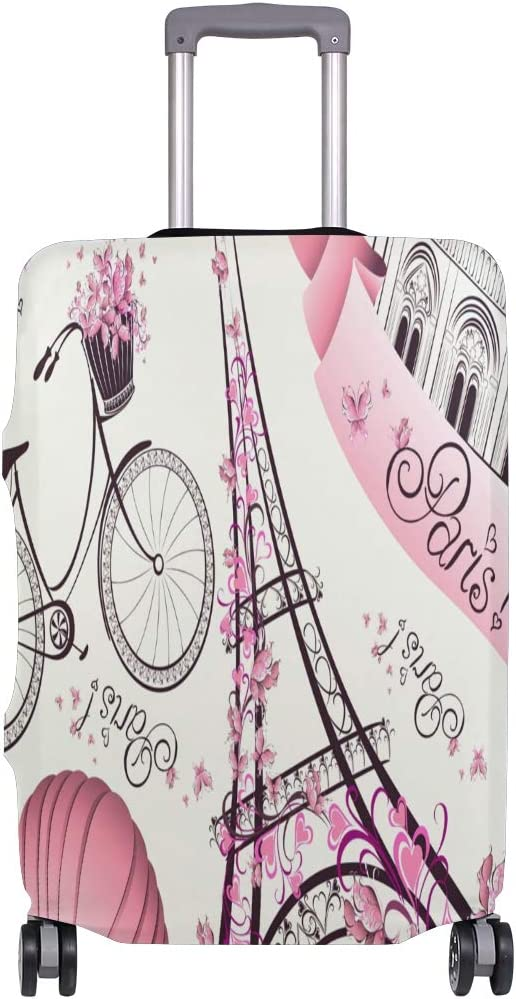 Travel Luggage Cover Romantic Eiffel Tower Suitcase Protector Baggage Case Dustproof Stretchy Fits 26-28 Inch