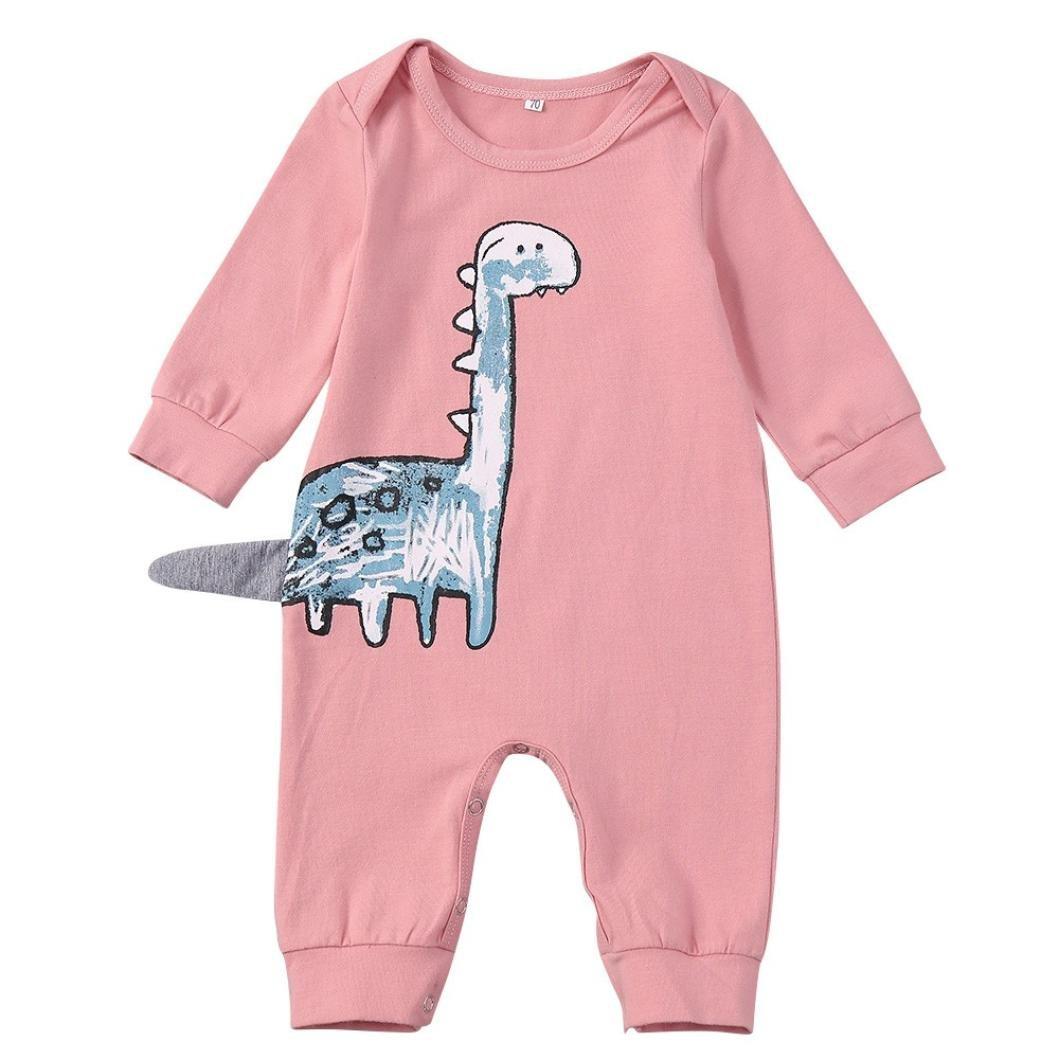 Hunzed Newborn Baby Girls Boys Romper, Cartoon Dinosaur Print Jumpsuit Casaul Clothes (12M, Pink)