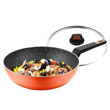 ZHESHEN Sartenes Antiadherentes, Aluminio Forjado, Mango Revestido Con Silicona, Inducción 30Cm,Orange
