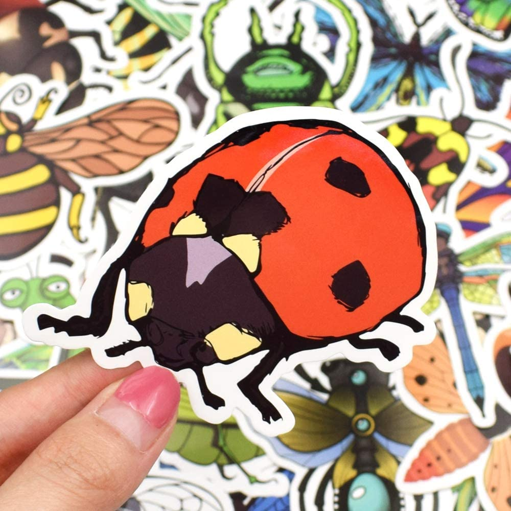 50 Pcs Insect Style Waterproof Nature Vinyl Stickers Pack for Scrapbooking Water Bottle DIY