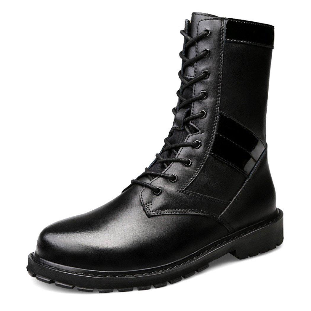 ZQ@QXLos hombres europeos y americanos y los trabajadores botas botas zapatos de tallas grandes casual hombres caliente 's botas, Negro y algodón, 47 47|Black plus cotton