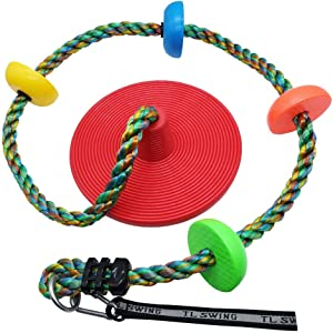 LONGTAI Multicolor Climbing Rope Swing for Kids with Rainbow Platforms and Disc Swings Seat Set Outdoor Backyard Tree Swingset Playset Accessories