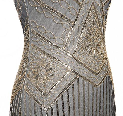 Bordado 1920S FAIRY con Oscuro D20S001 Hem Cuentas Vestido Gatsby oro Lentejuelas de con Beige Bordado COUPLE wYqRagAq