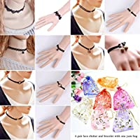12 PCS Womens Classic Black Velvet and Black Stretch Gothic Tattoo and Black Lace Choker Necklace and Bracelet (6 Pair Match Set)