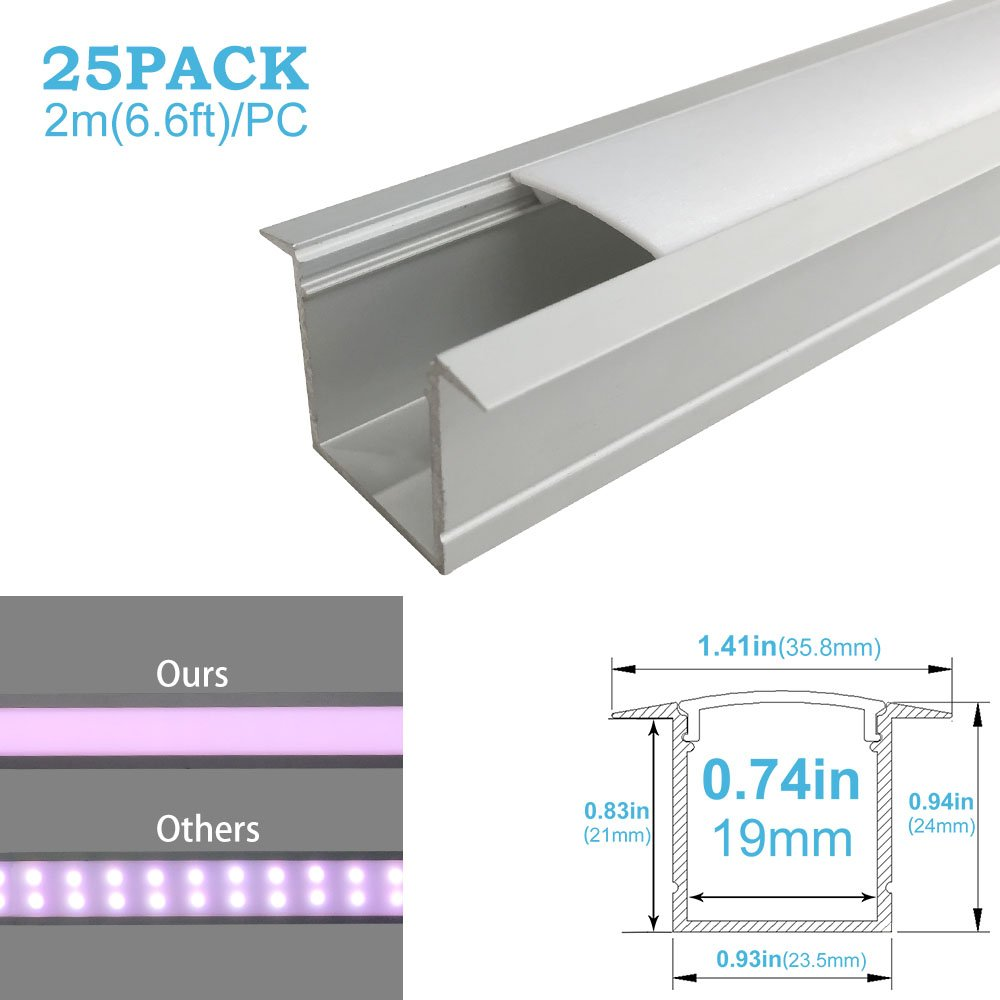 inShareplus 25 Pack 6.6FT/2M Spottiness LED Aluminum Chaneel Profile Silver U-Shape LED Extrusion With Oyster White Cover End Caps and Mounting Clips for 3528 2835 5050 Double Row and Single LED Strip