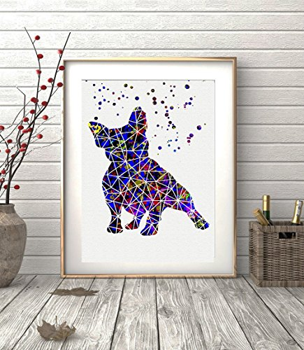 French Bulldog Geometric Watercolor Posters Art Prints